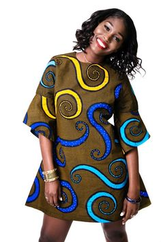 LABA Ankara Shift dress with bell sleeves (Brown with colorful tentacles) African Fashion Ankara, Latest African Fashion Dresses, African Print Fashion, Africa Fashion, African Wear, African Attire, African Women, Fashion Prints, African Dresses For Kids