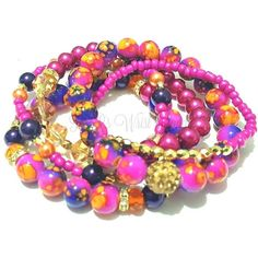 Orange, Fuschia, Purple,Pink, Gold Beaded Bracelet Set, Stretchy,... ($14) ❤ liked on Polyvore featuring jewelry, bracelets, handcrafted beaded jewelry, beaded jewelry, pink bangles, evening jewelry and colorful jewelry