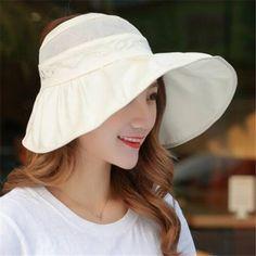 Womens sun visor wide brim summer hat packable UV sun hats cheap sale 738c83f970f4