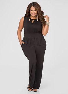 Plus Size Wide Leg Peplum Jumpsuit Plus Size Peplum, Plus Size Jumpsuit, Plus Size Dresses, Plus Size Outfits, Cute Dresses, Curvy Girl Fashion, Xl Fashion, Diva Fashion, Plus Size Fashion For Women