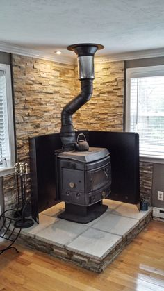 How to install a wood stove in your Mobile Home. installed with heat shield
