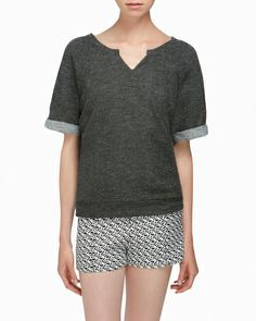 Charcoal Gray Cuffed Sleeve Top.  No to the pants