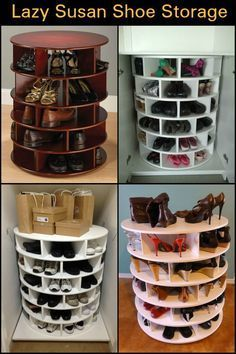 Lazy Susan Shoe Storage If you're looking for a great shoe storage system, then this DIY lazy Susan shoe organizer is for you!If you're looking for a great shoe storage system, then this DIY lazy Susan shoe organizer is for you! Shoe Rack Organization, Closet Shoe Storage, Home Office Organization, Diy Shoe Organizer, Organization Ideas, Shoe Closet, Organizar Closets, Diy Lazy Susan, Diy Storage