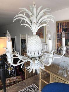 Vintage Hollywood Regency Italian Tole Metal Pineapple 6 Lights