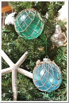 How to Make Glass Float Ornaments  You only need a few items to make the ornaments:  Clear glass ornaments  Blue and green food coloring (I used paste in Sky Blue & Leaf Green)  white glue or Mod Podge  Decorative fish netting (available at craft stores)  Sisal twine  cups, a small funnel, and a cupcake pan