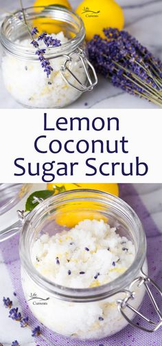 I love this Lemon Coconut Sugar Scrub with lavender flowers. Its easy to make. Its pretty to look at. It helps make your skin soft and healthy. And it smells so lovely! I love this Lemon Co Body Scrub Recipe, Diy Body Scrub, Sugar Scrub Recipe, Diy Scrub, Hand Scrub, Lavender And Lemon, Lavender Sugar Scrub, Lavender Flowers, Lemon Sugar Scrubs