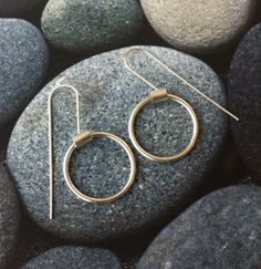 "Sterling silver earrings - dangle and drop earrings-hoop earrings-gift for her - minmalist jewelry "" Bubbles "" collection 10215B4LG - Size L"