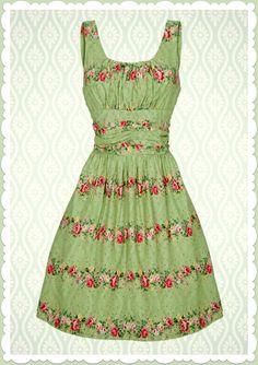 Voodoo Vixen 50er Jahre Vintage Blumen Kleid - Spring Flower - Grün
