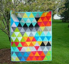 the Kokoon: the triangles - modern, graphic, one of a kind baby / toddler quilt.