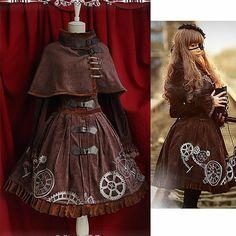 Chocolate Brown Velvet Corset Steam Punk Gothic Fashion Dresses Women SKU-11402471