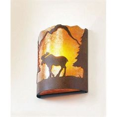 Steel Partners Moose Timber Ridge 1 Light Wall Sconce Shade Color: Slag Glass Pretended, Finish: Mountain Brown