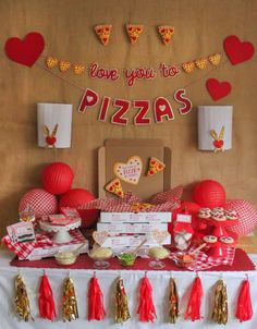 Show someone you love them with a slice of pizza!! Check out this fun Valentine's Day Party!! See more party ideas and share yours at CatchMyParty.com #valentinesday #pizza #party