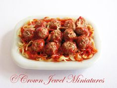 1:12 OOAK Platter of Meatballs On Bed Of Spaghetti by IGMA Artisan Robin Brady-Boxwell - Crown Jewel Miniatures