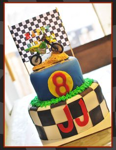 Just made this dirt bike cake.. For my sons 8th birthday!! found it on pintrest!!