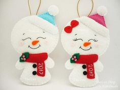 ********************************************************************************* Please READ my Shops Policies before your purchase. Thank you. ********************************************************************************* Felt Snowman Christmas Ornament for Boys or Girls - Felt ornament