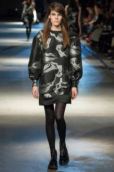 Puff sleeves with opaque tights and Docs at Giles.   Giles Fall 2014 Ready-to-Wear Collection Slideshow on Style.com