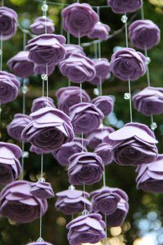 Wisteria Med Felt Mobile with Large Flowers & Swarovski Crystals Rose Mobile…