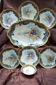 Antique Regal Gold Limoges Signed Game Bird Set Platter, Plate, & Sauce Bowl (Ducks, Quails, and Pheasants)!
