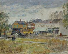 End of the Trolley Line Oak Park Illinois 1893 | Frederick Childe Hassam | oil painting