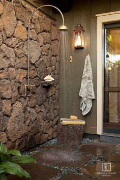 Just outside the master bathroom in a small courtyard. [ Wainscotingamerica.com ] #Bathrooms #wainscoting #design