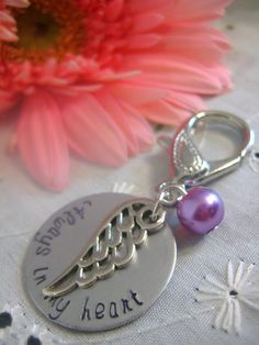 Bouquet charm, zipper pull, key chain. Always in my heart handstamped charm, angel wing, custom pearl color.