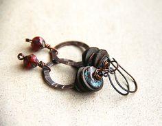 red glass bead earrings handmade | ... reservation..... handmade earrings with red glass beads, handh