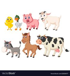 Collection of the livestock animals Royalty Free Vector Foto Pastel, Farm Day, Cupcake Queen, Flashcards For Kids, Farm Activities, 3d Cards, Little Designs, Livestock, Designs To Draw