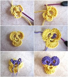 """- The flower is crocheted by recipe, but replaced poles with double poles ...: O)    - Leaves consist of db. poles.    - Made French knots in the center of the flowers, considered whether I should sew on beads in place, but """"to much"""" ..."""