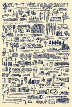 Jochen Gerner beautifullly drawn map/ driving directions