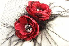 Red flower Fascinator  Bridal Headpiece flower clip Bridal hair flower Wedding red flower Bridesmaids red flower Bridal red clips Red bridal by LudasPreciousDesigns on Etsy https://www.etsy.com/listing/119003469/red-flower-fascinator-bridal-headpiece