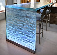"Magnificent 2"" thick glass countertop with LED lighting. What a beautiful kitchen countertop! S.Matteau-ThickGlassICE"