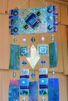 Kirks Glass Art Fused Stained Glass Wind Chime windchimes - The Blues.   http://www.etsy.com/listing/100027645/kirks-glass-art-fused-stained-glass-wind