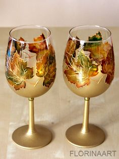 Wine Glasses Retirement Gift Wedding Glasses Hand by Florinaart Diy Wine Glasses, Decorated Wine Glasses, Hand Painted Wine Glasses, Wine Glass Crafts, Wine Bottle Crafts, Bottle Painting, Bottle Art, Pebeo Porcelaine 150, Glass Painting Designs