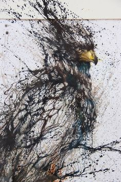 Awesome mural detail by Hua Tunan in China. The splattered ink effect is very powerful.