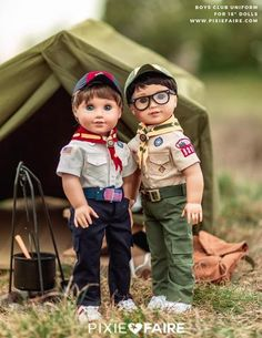 Let your little guys get involved in the Boy's Club scene. This Boy's Club Uniform includes a shirt, pants, hat, and neckerchief. There is also a bonus sash to display all of the badges he earns. Boy Doll Clothes, Doll Clothes Patterns, Doll Patterns, Clothing Patterns, Ag Clothing, Children Clothing, Barbie Clothes, Dress Patterns, Ag Dolls