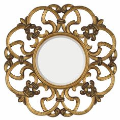 Features:  -Material: Urethane.  -Open work.  -Style: Traditional.  -Frame Finish: Antique gold and bronze highlights.  Shape: -Round.  Style: -Traditional.  Commercial Use: -Yes.  Beveled Glass: -Yes