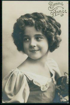 Alluring Edwardian Child Girl GRETE REINWALD original old 1910s photo postcard