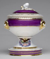 State dinner and dessert service of Abraham Lincoln (President 1861-1865)--Sugar Bowl and Cover /Made in France, Europe c.1861--Artist/maker unknown, French. Imported and decorated by E. V. Haughwout and Company, New York, 1857 - 1870. Porcelain with printed, enamel, and gilt decoration 6 3/4 x 5 1/4 inches (17.1 x 13.3 cm)