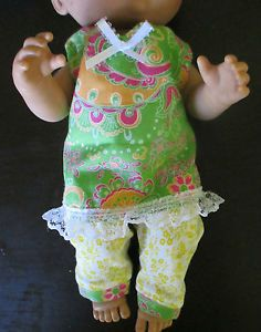 """Baby Alive Doll Clothes Lace Trim Top Pant 2pc Fits 12 13"""" Green Yellow 