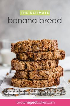 Ultimate Banana Bread - This single loaf of banana bread is packed with FIVE bananas(!) brown sugar butter chopped walnuts and a sprinkle of sugar on top. It bakes up high dense and supremely moist. Ultimate indeed! Pain Artisanal, Best Bread Recipe, Ultimate Banana Bread Recipe, Moist Banana Bread, Dessert Bread, Banana Bread Recipes, Artisan Bread, Food 52, Sweet Bread