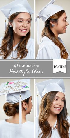 4 graduation cap hairstyles. Stand out on your big day with our ideas for curls, updos and more. Great for high school or college graduation and medium or long hair!