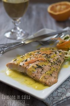 filetti di salmone in salsa all'arancia, secondo piatto di pesce