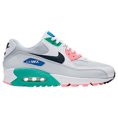 Right view of Men's Nike Air Max 90 Essential Casual Shoes in White/Obsidian/Pure Platinum/Blue Cute Sneakers, Cute Shoes, Air Max Sneakers, Me Too Shoes, Men's Shoes, Shoes Sneakers, Mens Nike Air, Nike Men, Air Max 90