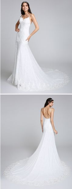 "Falling in love with the details from this open-back wedding dress with a chapel train! It is made with lace <3 Perfect for a boho wedding! Repin if you also like it! Remember to use coupon code ""PTL40901"" for an extra discount when you spend $200+"