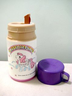 Vintage My Little Pony Plastic Thermos. I can still remember the weird sound it made when drinking from the rectangle spout. <3