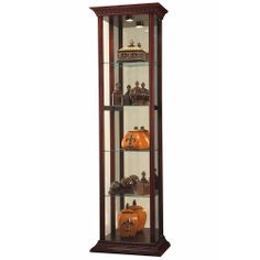 Superior Howard Miller Cherry Small Curio Cabinet 680519 Edna