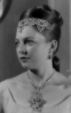 """Princess Diane d´Orleans, using the diamond+ rubi Wurttemberg parure.       Pre wedding with Karl of Wurttemberg"""" 1960."""