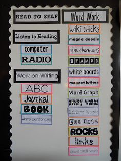 First Grade Rocks: Daily 5.....I love how she has all the specific choices under each component of Daily 5.