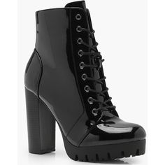 Boohoo Emma Cleated Patent Lace Up Hiker Boot (€36) ❤ liked on Polyvore featuring shoes, boots, heels, evening shoes, laced up boots, block-heel boots, laced boots and summer shoes