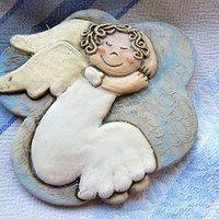 Anjel na obláčiku / Zboží prodejce ina. Christmas Clay, Christmas Angels, Christmas Crafts, Rock Crafts, Clay Crafts, Ceramic Clay, Ceramic Pottery, Pottery Angels, Clay Angel